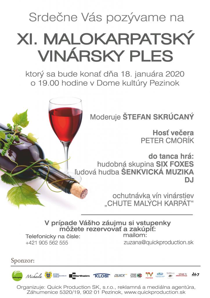 XI. Malokarpatský vinársky ples 2020