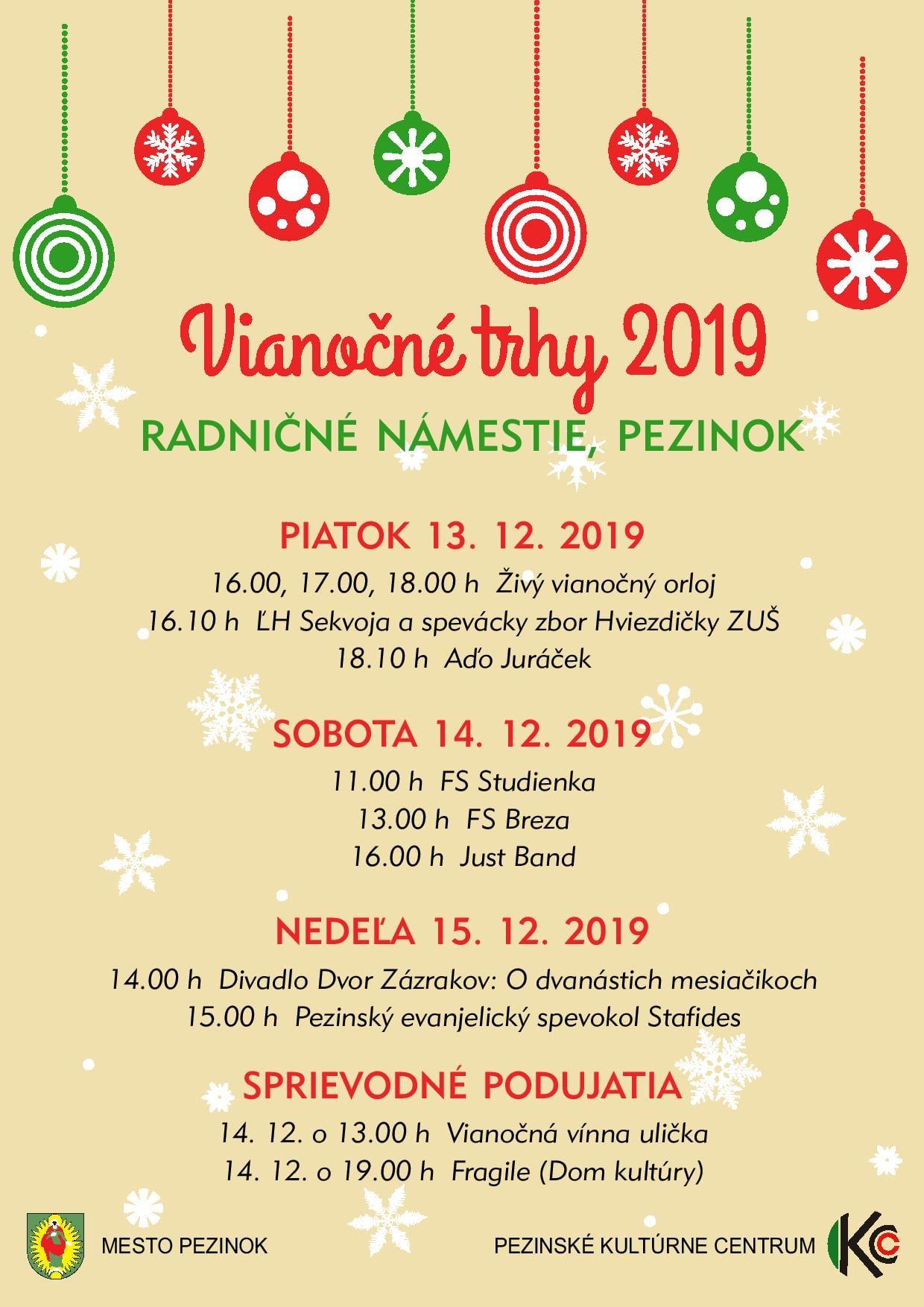 Vianočné trhy Pezinok program 2019
