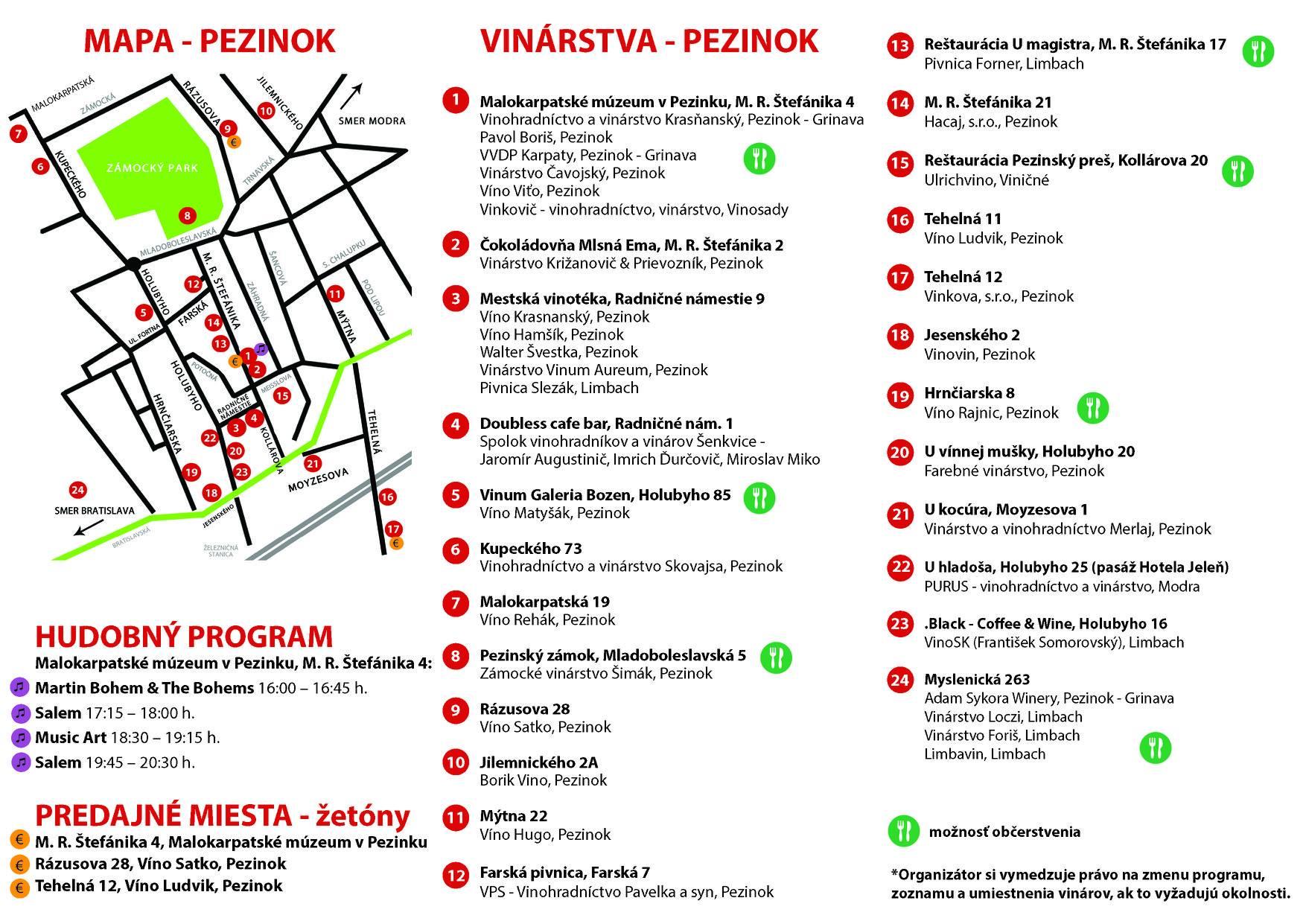 Pezinské vínne pivnice 2020 mapa